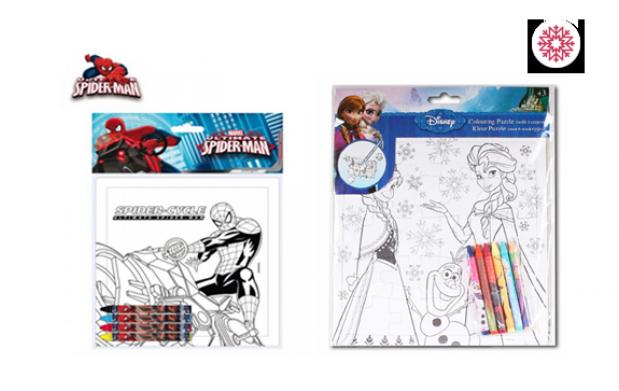 Puzzles Spiderman y Frozen + pinturas
